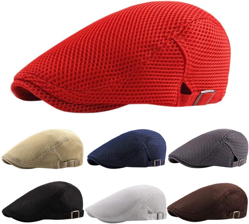 Factorys Sombrero Plano para Hombre Boina de Verano de Malla Transpirable Ivy Gatsby Newsboy Cabbie Caps