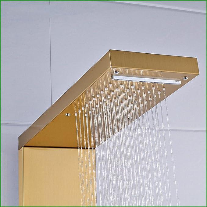 Shuai Set de Ducha de Acero Inoxidable Dorado Cepillado Moderno Mampara de Ducha de baño Mando a Distancia Set de Ducha: Amazon.es: Hogar