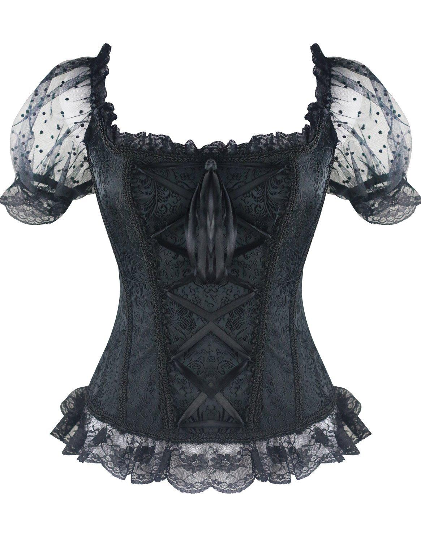 Burvogue Corset Top,Women Steampunk Gothic Jacquard Halloween Costume Lace Shirt 3