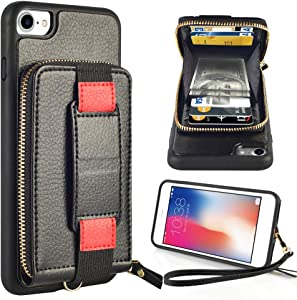ZVEdeng Case for Apple iPhone SE2, iPhone 7 Zipper Case, iPhone 8 Zipper Wallet Case with Card Holder Wrist Strap and Kickstand Bumper Phone Case Protective Cover Slim Handbag Purse, 4.7inch-Black