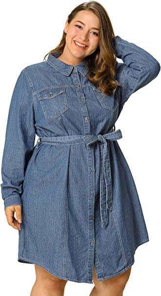 Agnes Orinda Women\'s Plus Size Long Sleeves Above Knee Button Down Denim  Shirts Dress