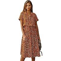 Wellwits Women's Dots Print Tie Waist Casual Summer Midi Vintage Dress