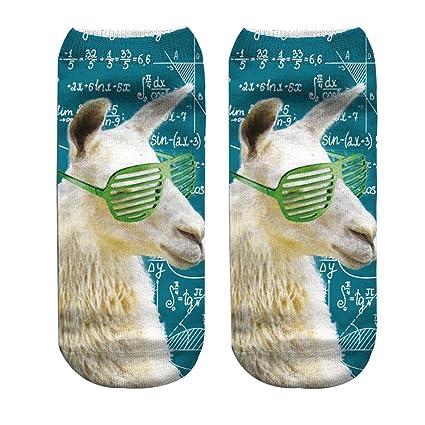 Zoylink Calcetines De La Novedad Calcetines Divertidos Calcetines De Patrón De Alpaca 3D Creativo para Hombres