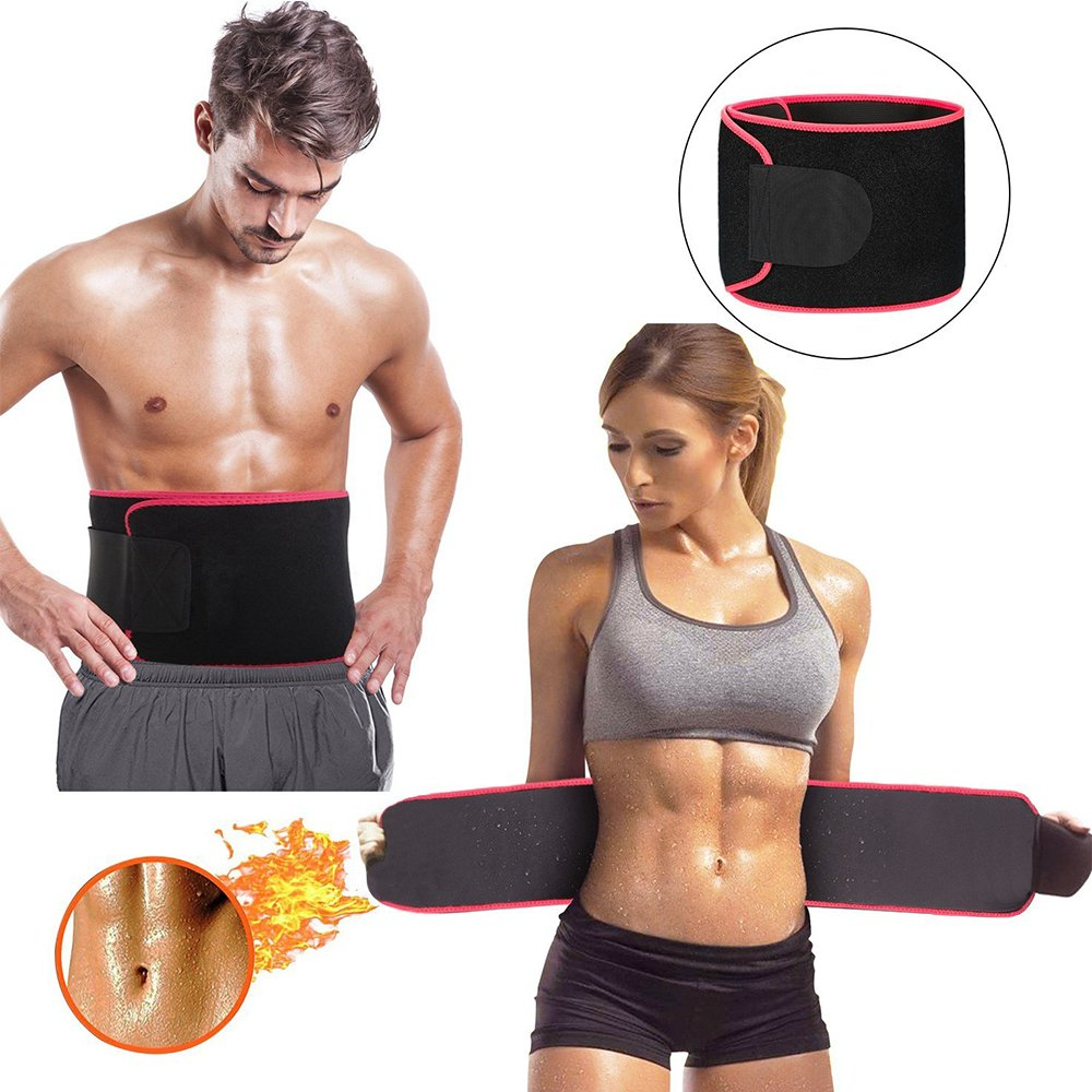 Waist Trimmers,Adjustable Waist Trimmer for Men and Women to Loose Weight and Keep Fit,Best Back Belt Support For Men Women, Back Support Belt For Squats, Deadlif,Thrusters Lifting Belt For Powerlift (Red piece, Large)