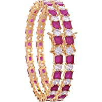 Ratnavali Jewels CZ Zirconia White Tone Red White Diamond Bangles Kada Bracelet Jewelry Women (2.8)