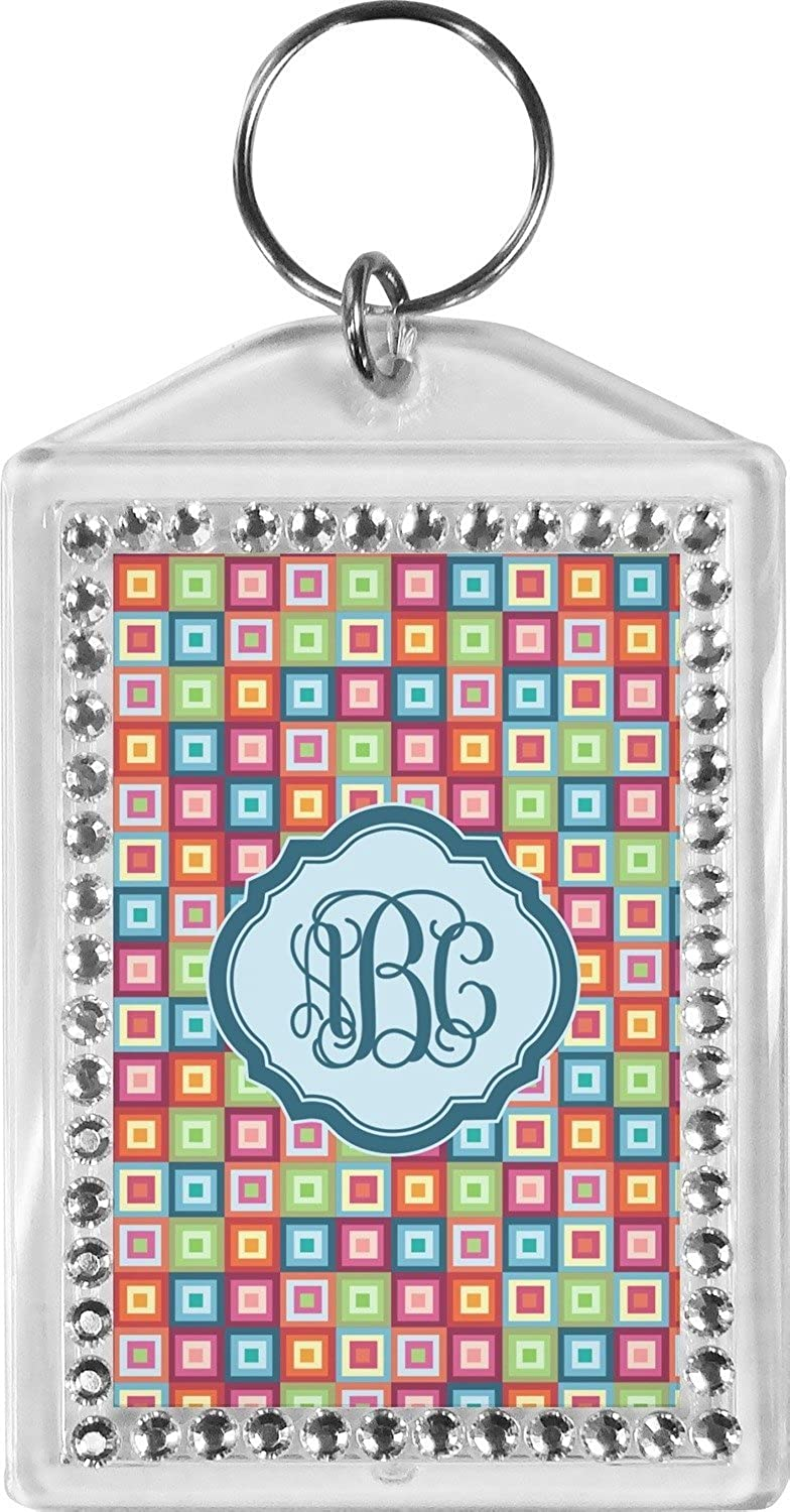 Retro Squares Bling Keychain (Personalized)