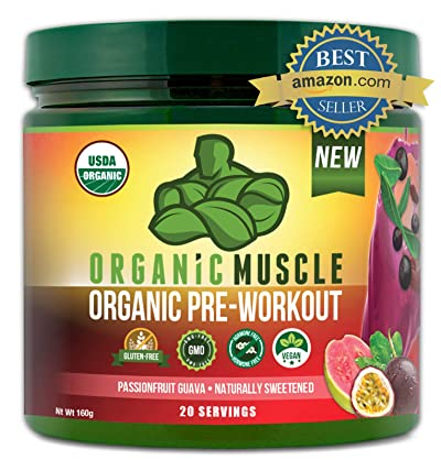 ORGANIC MUSCLE #1 Rated Organic Pre Workout Powder– Natural Vegan Keto Pre-Workout & Organic Energy Supplement