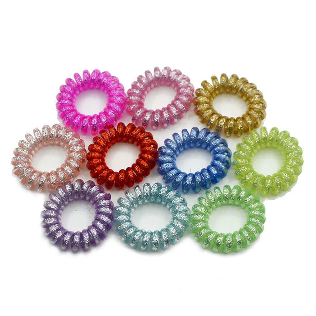 Amazon.com   Simdoc 5Pcs Sequins Spiral Hair Ties Hair Ties-3.5CM-Phone  Cord Hair Ties Hair Coils Hair Ring Headbands Elastic Hair Bands For All  Types Of ... d10ab7c5c83