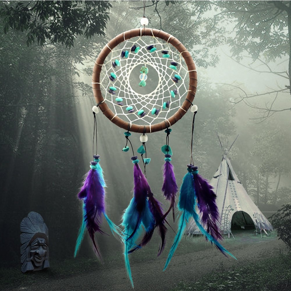 Karleksliv Classical Style Handmade Indian Real Feathers Dream Catcher Wall Hanging Car Hanging Decoration Ornament Small Decorative Dream Catchers Purple Feathers Brown Circle XM001