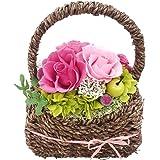 プリザーブドフラワ- イース バラ4輪 あじさい クリアケース付 敬老の日 誕生日 ギフト お祝い プレゼント (ピンク)