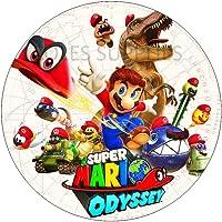 Mario odyssey redondo comestible pastel impreso topper impreso
