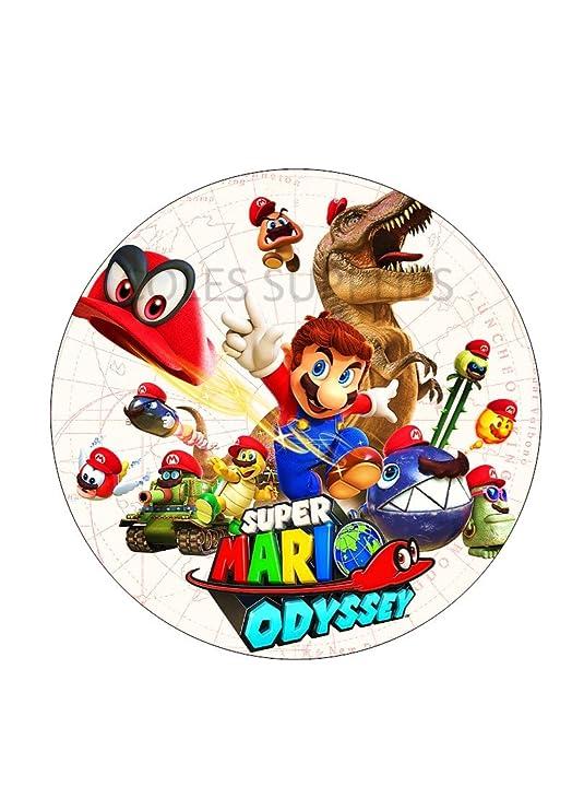 Mario odyssey redondo comestible pastel impreso topper ...