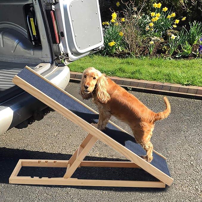 GBWHL Perro Mascota rampa Ajustable en Altura rampa de Seguridad Antideslizante para el Perro de Madera Escalera de Gato Viajes,A: Amazon.es: Jardín