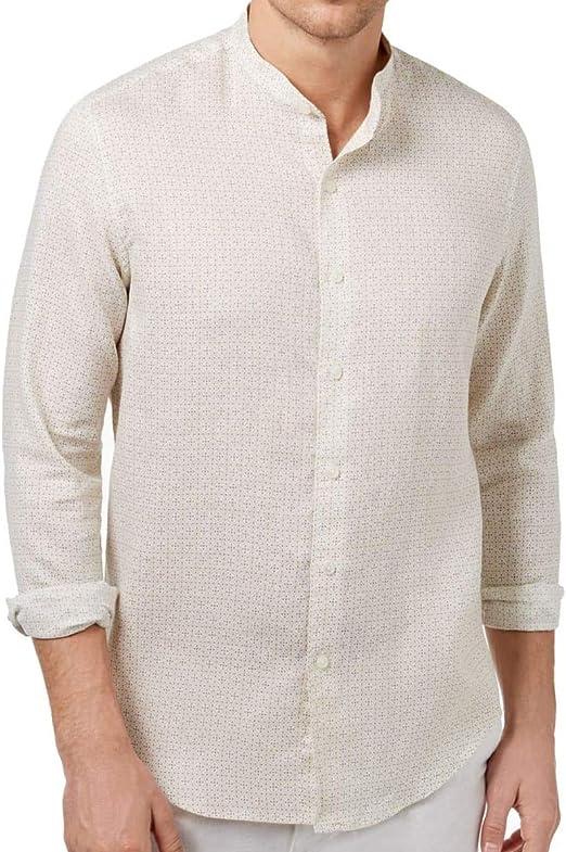 Tasso Elba Island Mens Medallion-Print Band Collar Button Down Linen Shirt L