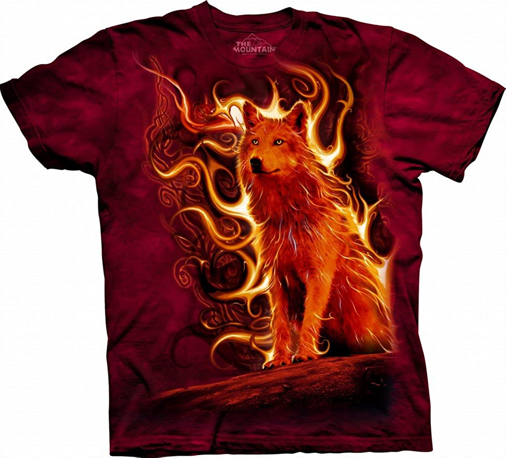 Animal World - Phoenix Wolf Flames T-Shirt Red