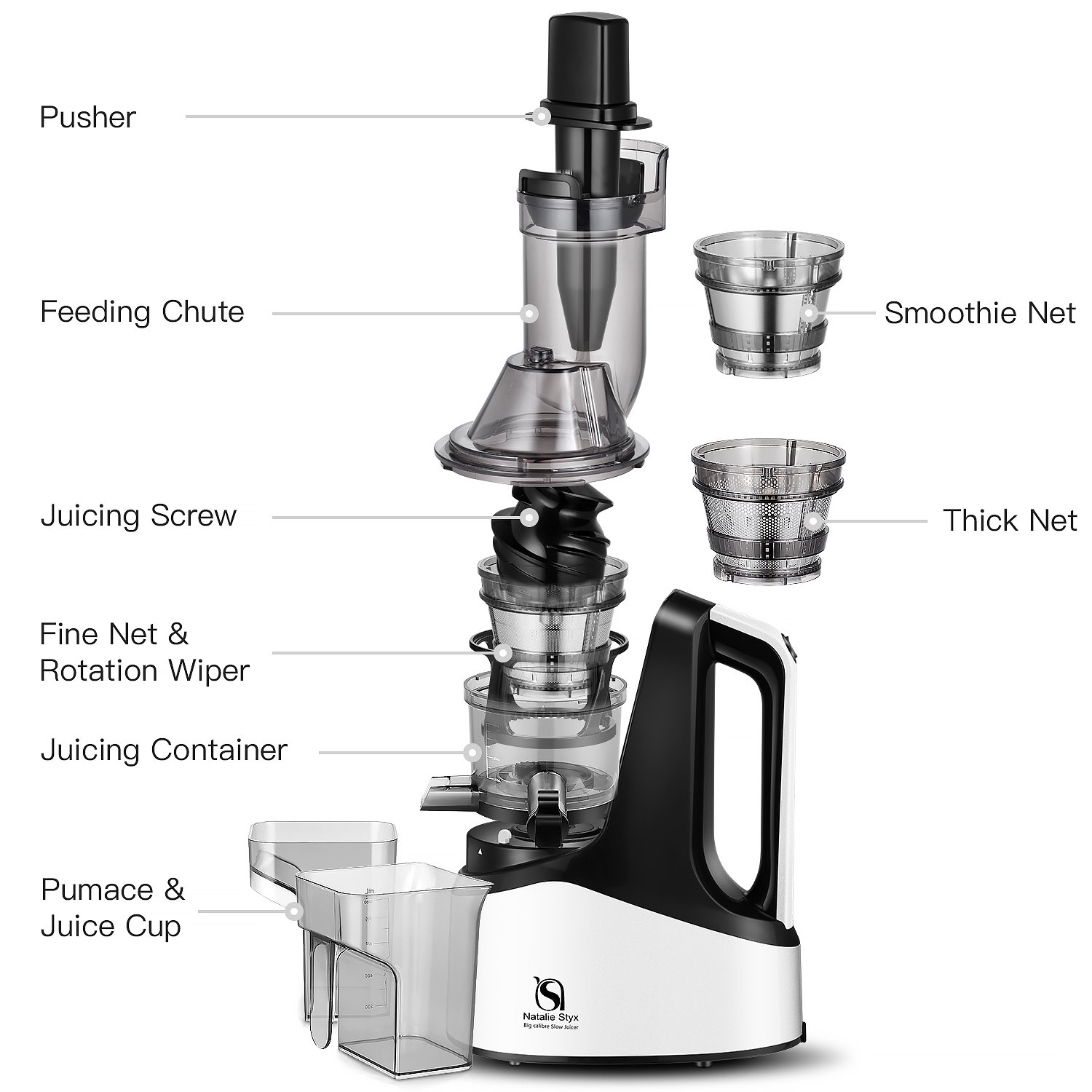 Juicer Masticating Slow Juicer Extractor, Natalie Styx Wide Chute Juice Cold Press Juicer Machine for Fruits & Vegetables, Quiet Motor & Reverse Function, High Juice Yield and Easy to Clean, Silver by Natalie Styx (Image #4)