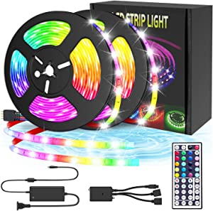 Led Strip Lights, 32.8Ft(10m) Decoration 5050 RGB Light Strip Kits with IR Remote Control 12V Power Supply Flexible Color Changing LED Strip for Bedroom TV Home Party