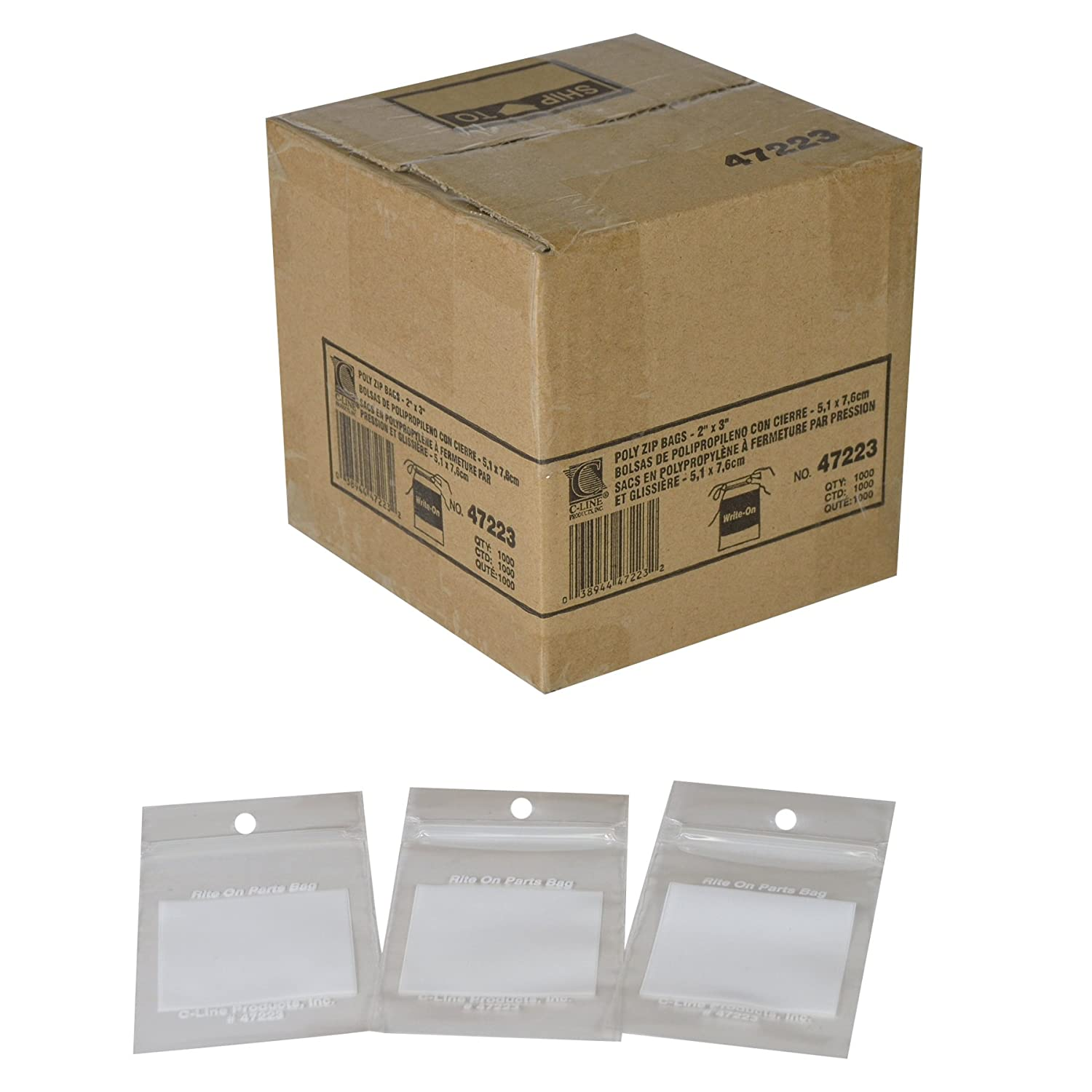 C-Line 47223 Write-On Recloseable Small Parts Bags, Poly, 2 Mil, 2 x 3, Clear, 1000/Carton
