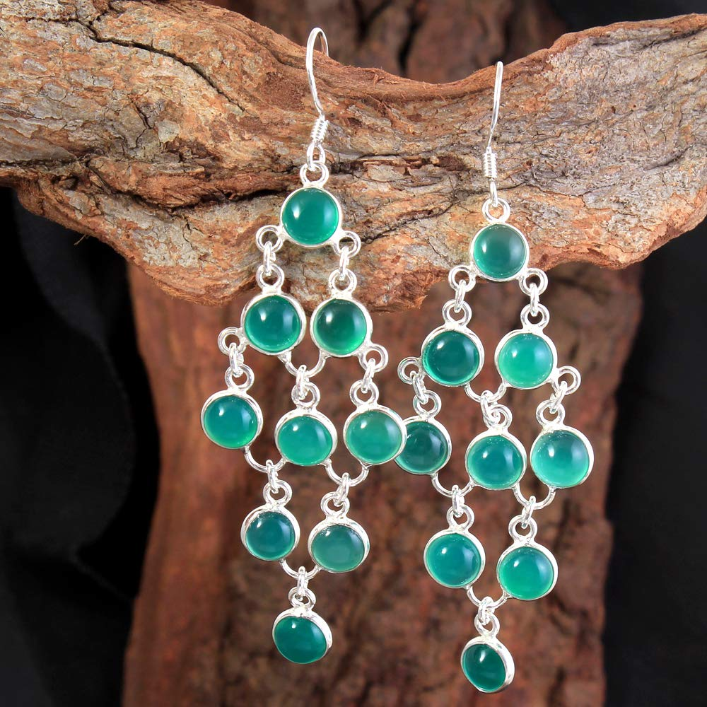 Sterling Silver Chandelier Teardrop Earrings with Natural Larimar Beads and Sterling Silver Earring Wires