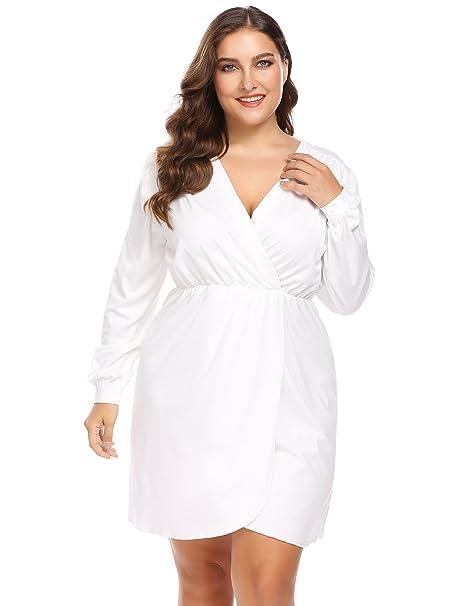 Involand Women Plus Size Wrap Front V-Neck Empire Waist Long Sleeve Ruched  Shirt Dress