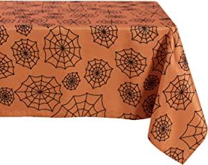 SARAFLORA Halloween Rectangle Tablecloth – Washable Water Resistance Microfiber Decorative SpiderwebTable Cover for Picnic Banquet Party Kitchen Dining Room,(60 x 84Inch, Orange)