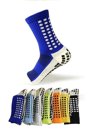 7225b9fc6 Amazon.com: Non-Slipping Soccer Socks Cotton Anti Slip Football Socks  Skidproof Sports Socks with Anti Skid Rubber Outside Sock for Unisex Men  Women (Deep ...