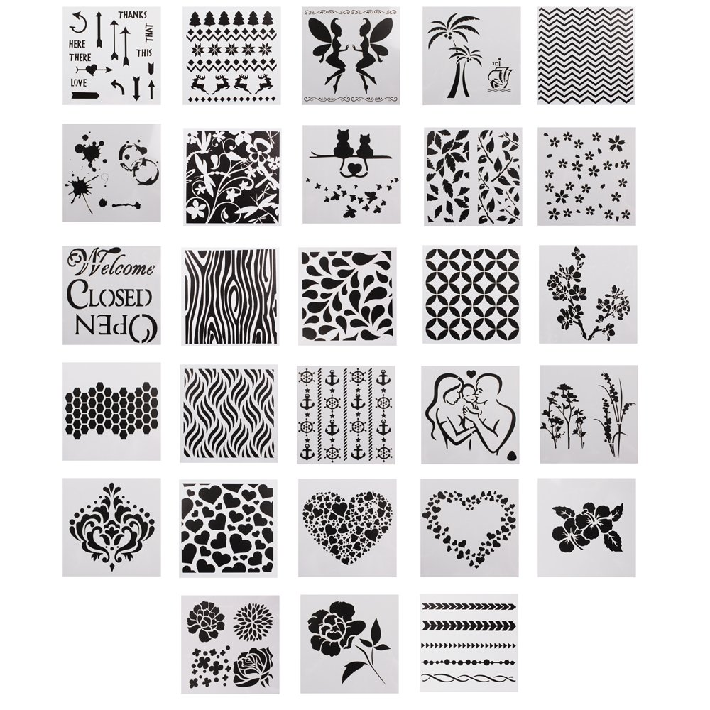 28 Pcs Mix Pattern Square Shape Journal Stencil Plastic Planner Stencils Journal Notebook Diary/Scrapbook DIY Drawing Template Stencil YW SNOW