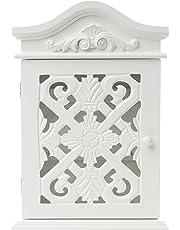 Boîte de clé avec des ornements et des sculptures avec porte en style champêtre blanc antique bois