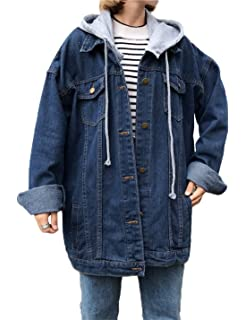 Gihuo Womens Oversized Loose Boyfriend Denim Jacket Hooded Jean Jacket