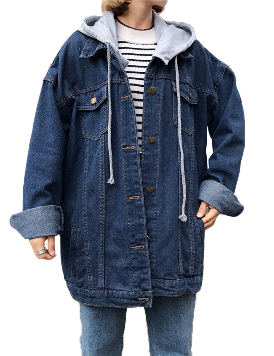 03fd7d734e52 Gihuo Women s Oversized Loose Boyfriend Denim Jacket Hooded Jean Jacket