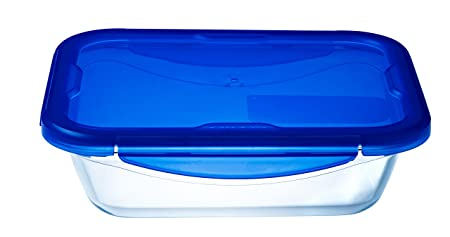 Pyrex Cook & Go Recipiente Rectangular 25X19CM 170CL con Tapa Cook&GO, Azul, 4.19 cm