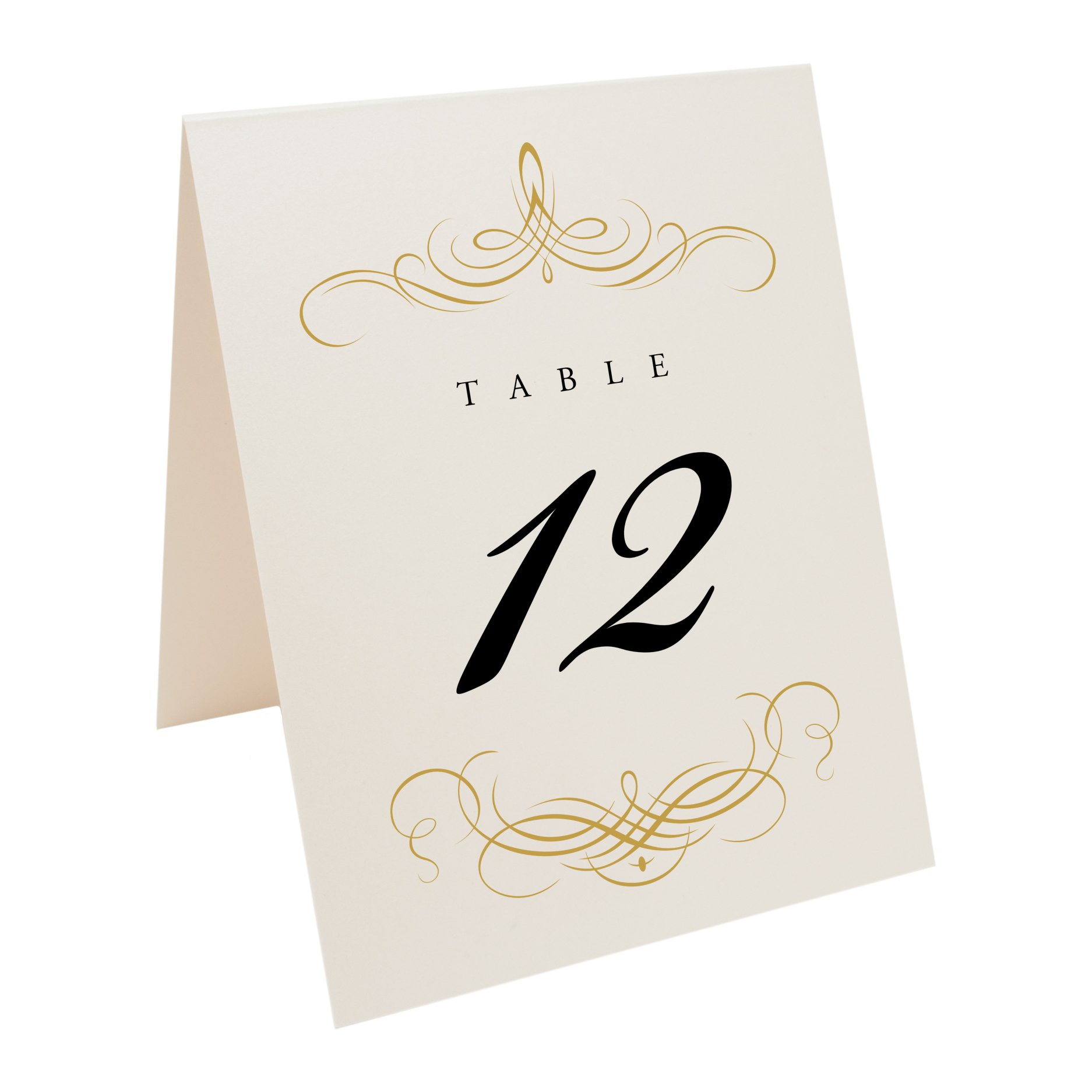 Documents and Designs Decadent Flourish Table Numbers (Select Color/Quantity), Champagne, Gold, 1-40 by Documents and Designs
