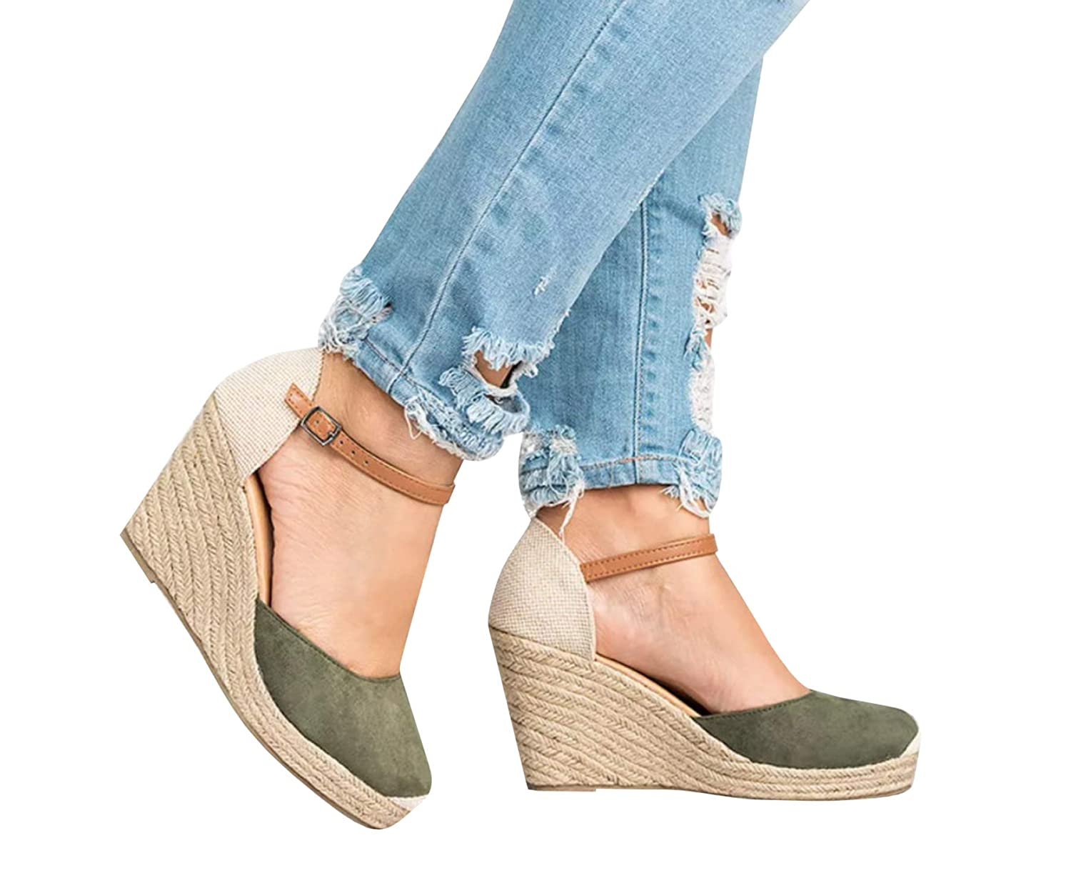 fadf58977f1a Amazon.com  Fashare Womens Closed Toe Espadrilles Platform Heel Wedge Shoes Ankle  Strap Sandals  Shoes