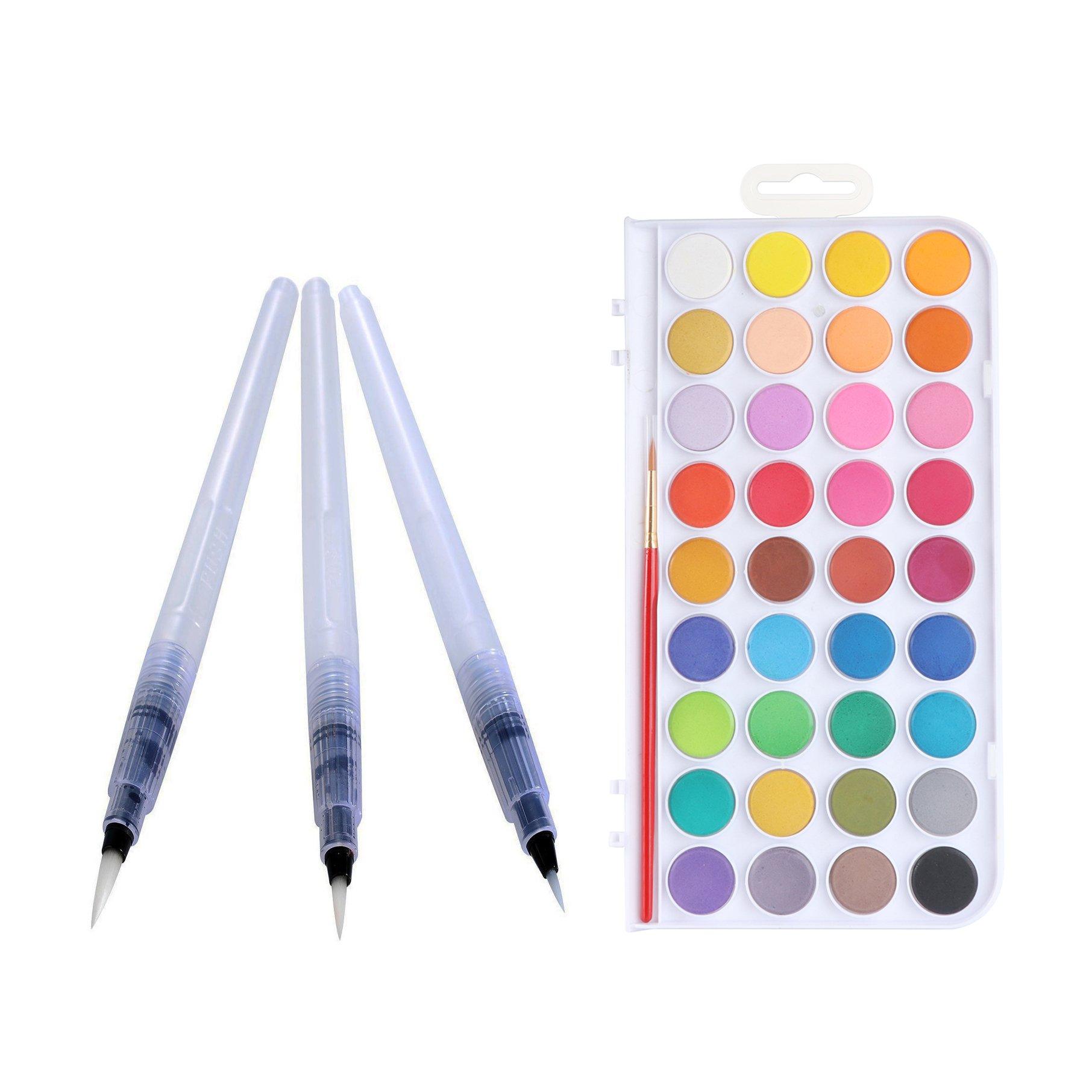 Xpassion Watercolor Artist Set 36Colors with Water Pen Brush Set 3Pcs