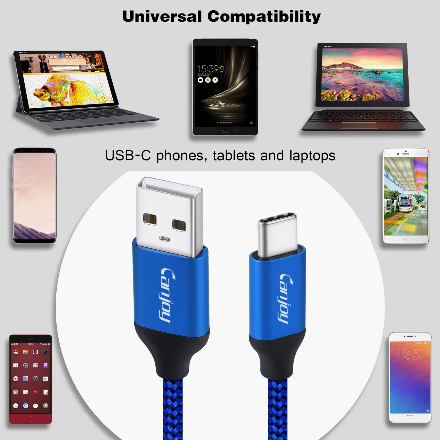 USB Type C Cable Canjoy 2 Pack 6ft Braided USB C Cable Fast Charger Cord Compatible with Samsung Galaxy S10 //S10E //S10 Plus,S9 //S9 Plus,S8//S8 Plus,Note 10//9//8