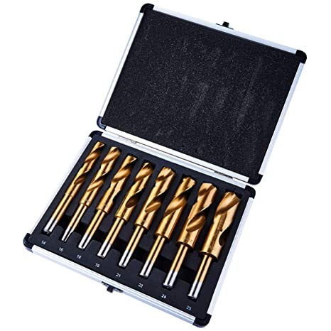 8 Pieces Blacksmiths HSS Titanium Drill Bit Set Reduced Shank 14-25mm