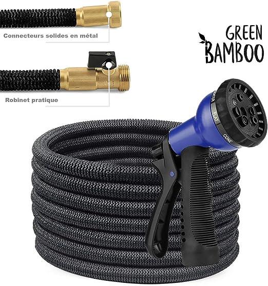 ⭐[Green Bamboo®] – Manguera Extensible y Retractable – Solidez Reforzada / 15 metros (50 pies) + Conectores de latón con tornillos + Pistola 8 funciones: Amazon.es: Jardín