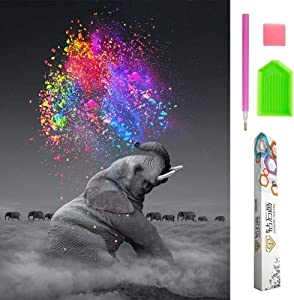 OWAY 5D Diamond Painting Full Drill Elephant Diamond Painting Kits for Adults Paint by Numbers for Wall Decor, 12X16 inch