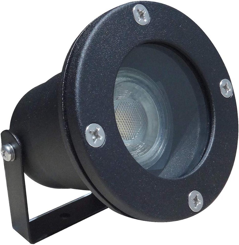 LED Boden Einbaustrahler Milan 1 x 7W Dimmbar MCOB Aufbauleuchte 230V IP68 Farbe Schwarz 4000K Neutralwei/ß 450lm