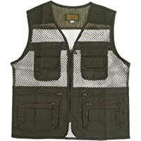 Segolike Men Breathable Multi Pocket Outdoor Fishing Hunting Mesh Vest Jacket Photo Zipper Solid Casual Waistcoat Army Green