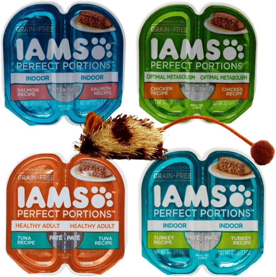 Iams Perfect Portions Grain Free Pate Cat Food 4 Flavor 8 Can Variety with Toy Bundle, (2) Each: Indoor Salmon, Optimal Metabolism Chicken, Tuna, Indoor Turkey - 1.3 Ounces (8 Cans Total)