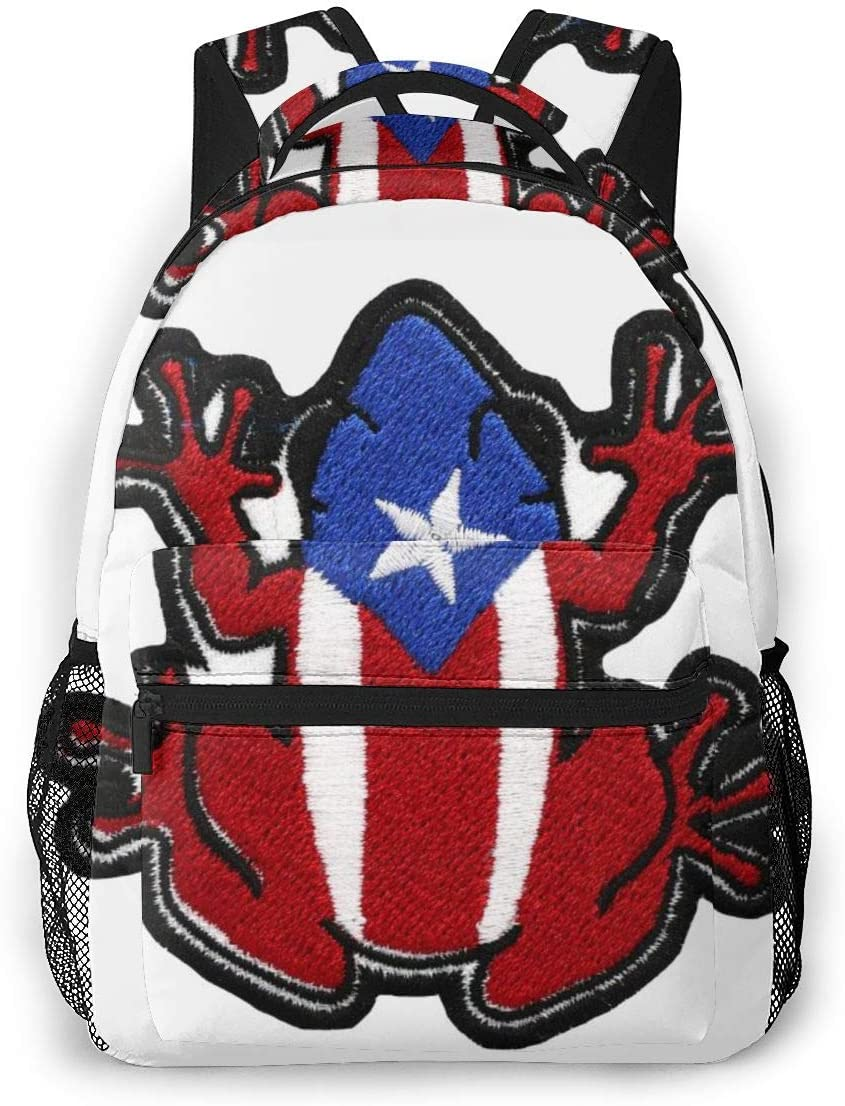 Fashion Unisex Backpack Puerto Rico Flag Frog Bookbag Lightweight Laptop Bag For School Travel Outdoor Camping