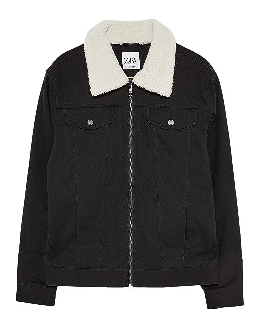 37d677f1 Zara Men's Jacket with Contrast Faux Shearling 6985/401: Amazon.co ...