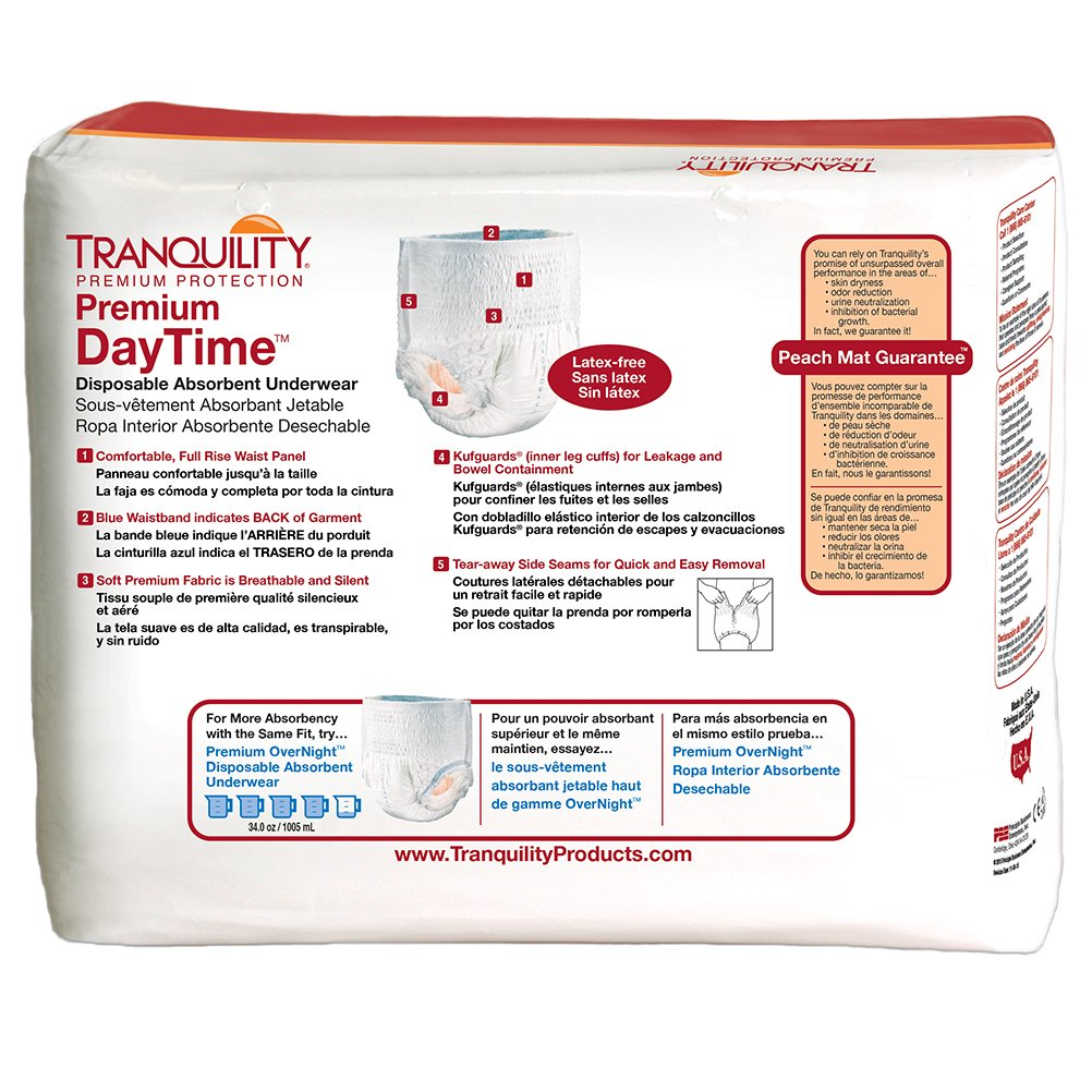 Amazon.com: Tranquility Premium DayTime™ Disposable Absorbent Underwear (DAU) - MD - 72 ct: Health & Personal Care