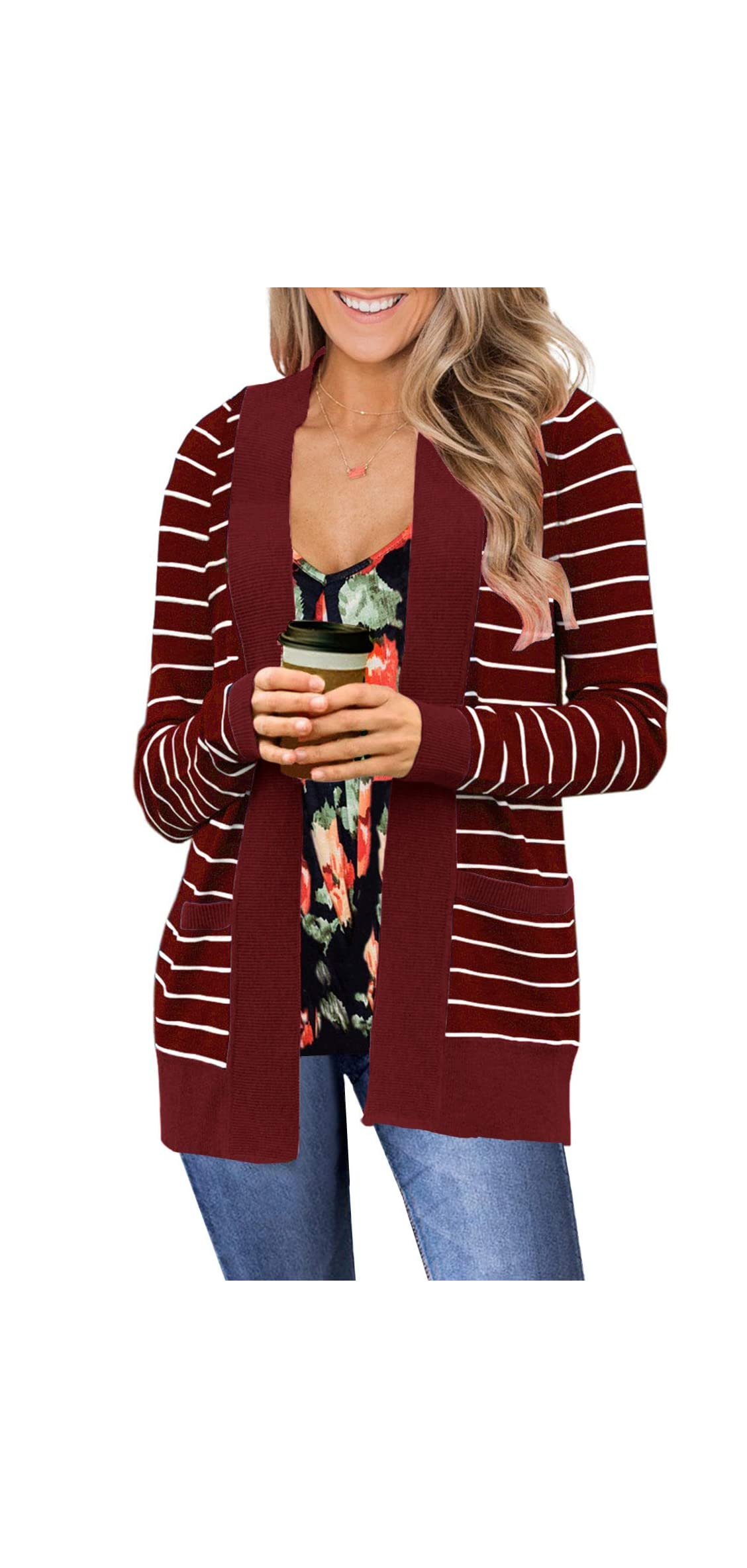 Women Open Front Striped Cardigans Sweater Long Sleeve