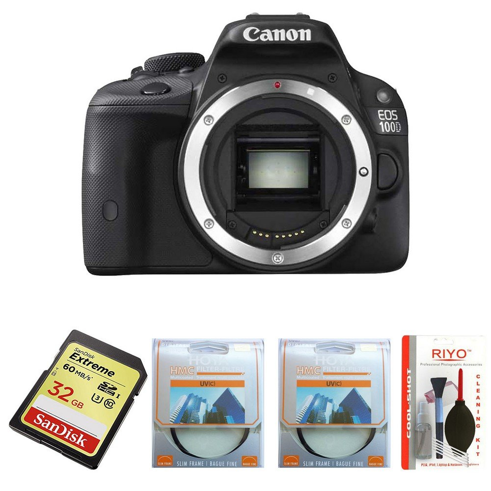 Buy Canon Eos 100d 18mp Digital Slr Camera Black Sandisk 32gb Dslr Extreme Sdhc 2 Pieces Hoya 58mm Uv Filter And Riyo Cleaning Kit Online At Low Price In