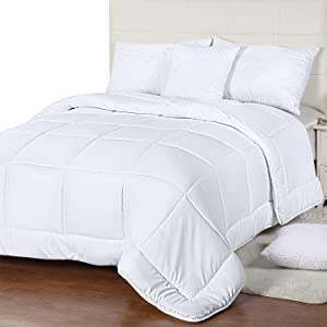 Utopia Bedding All Season Comforter - 250 GSM Plush Microfiber Fill - Quilted Duvet Insert with Corner Tabs - Box Border Stitched Comforter King - White