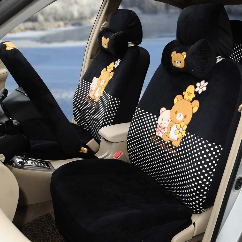 1 set women automotive soft plush car seat covers car steering wheel cover Hand Brake Cover by PPSEX