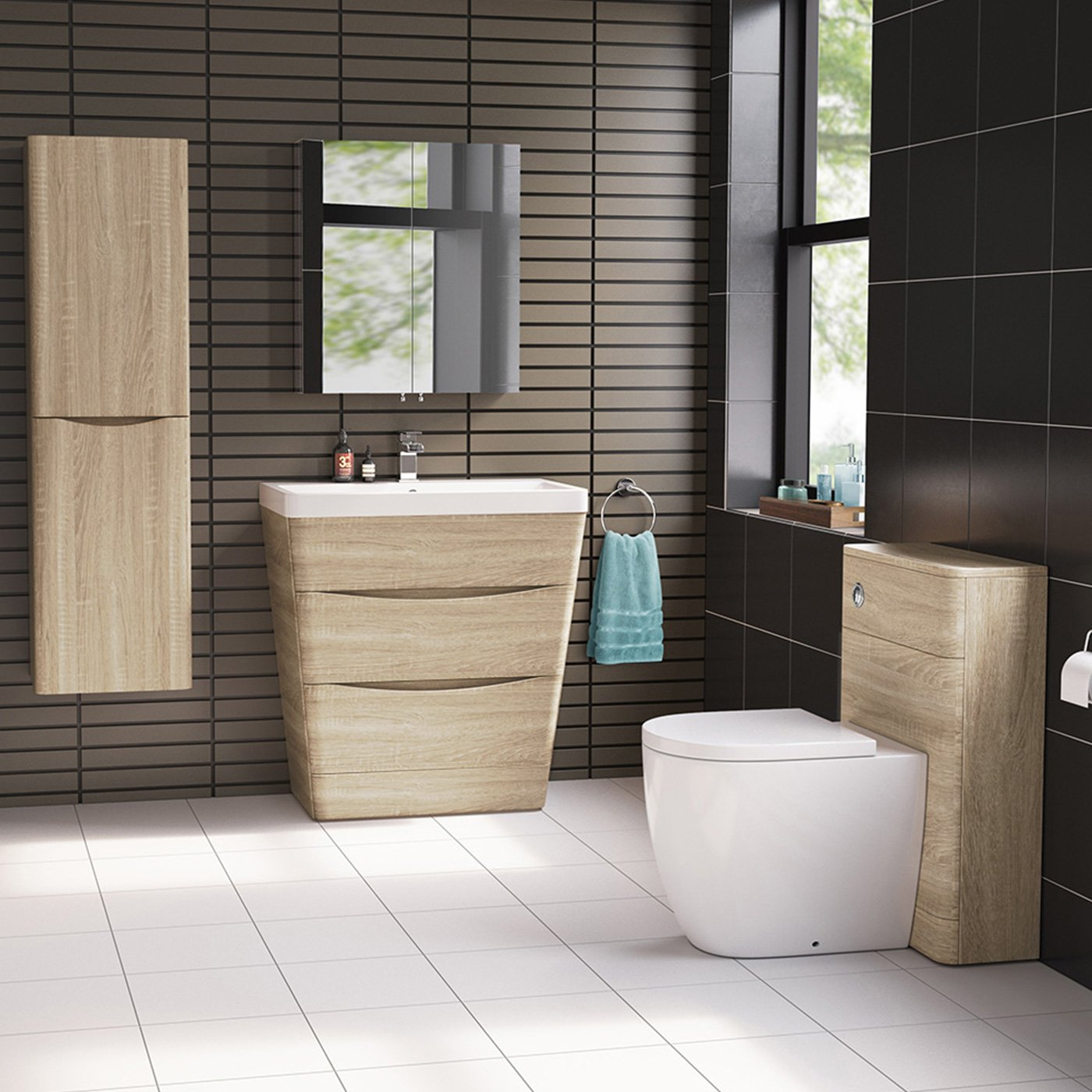 Modern Back To Wall Toilet with Soft Close Seat WC Bathroom ...