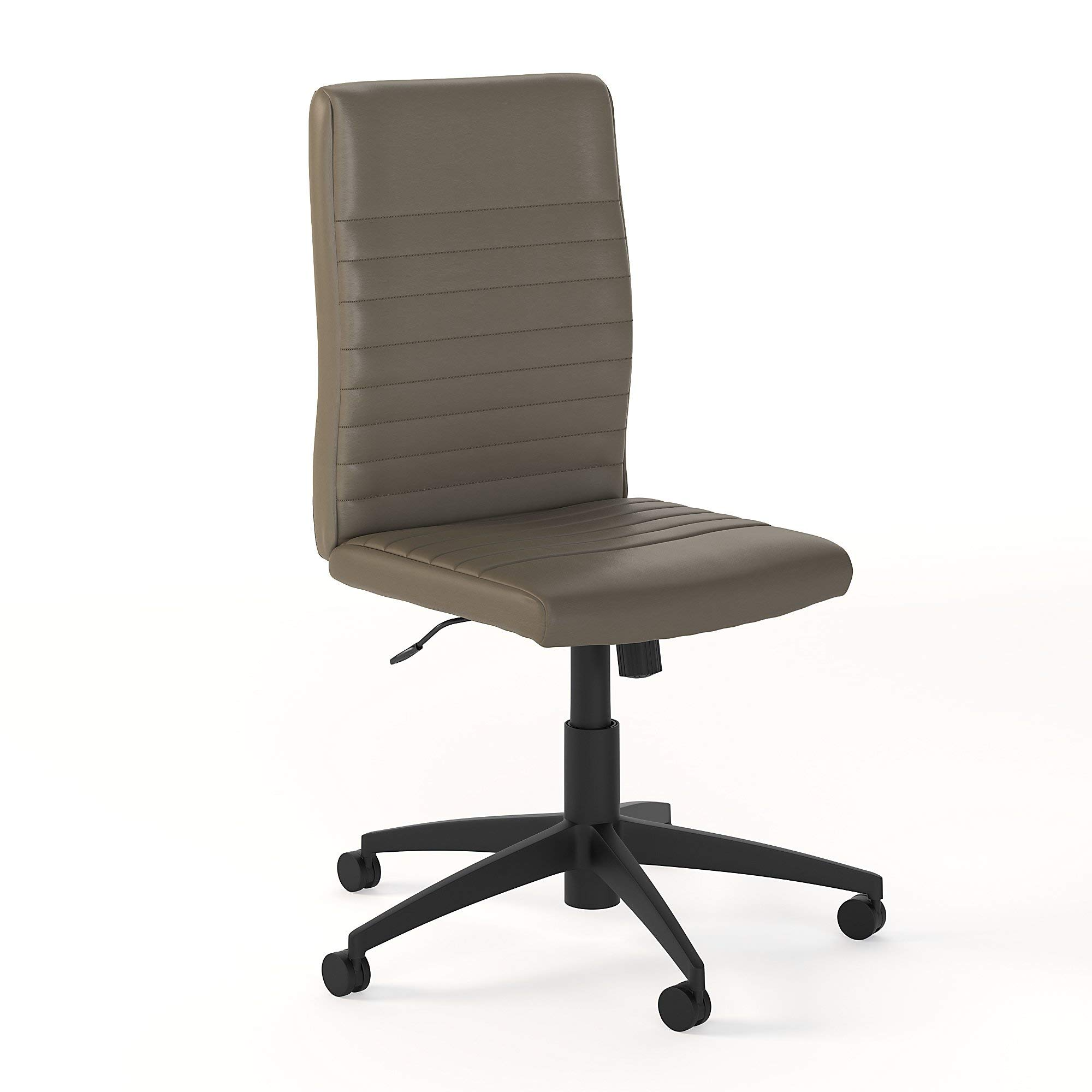 Bush Furniture Refinery Mid Back Ribbed Leather Office Chair in Washed Gray